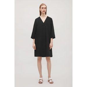 COS BLACK CROSSOVER DEEP V-NECK DRESS A LINE PLEAT